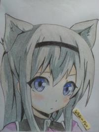 Рисунок цветными  милую аниме девочку с ушками