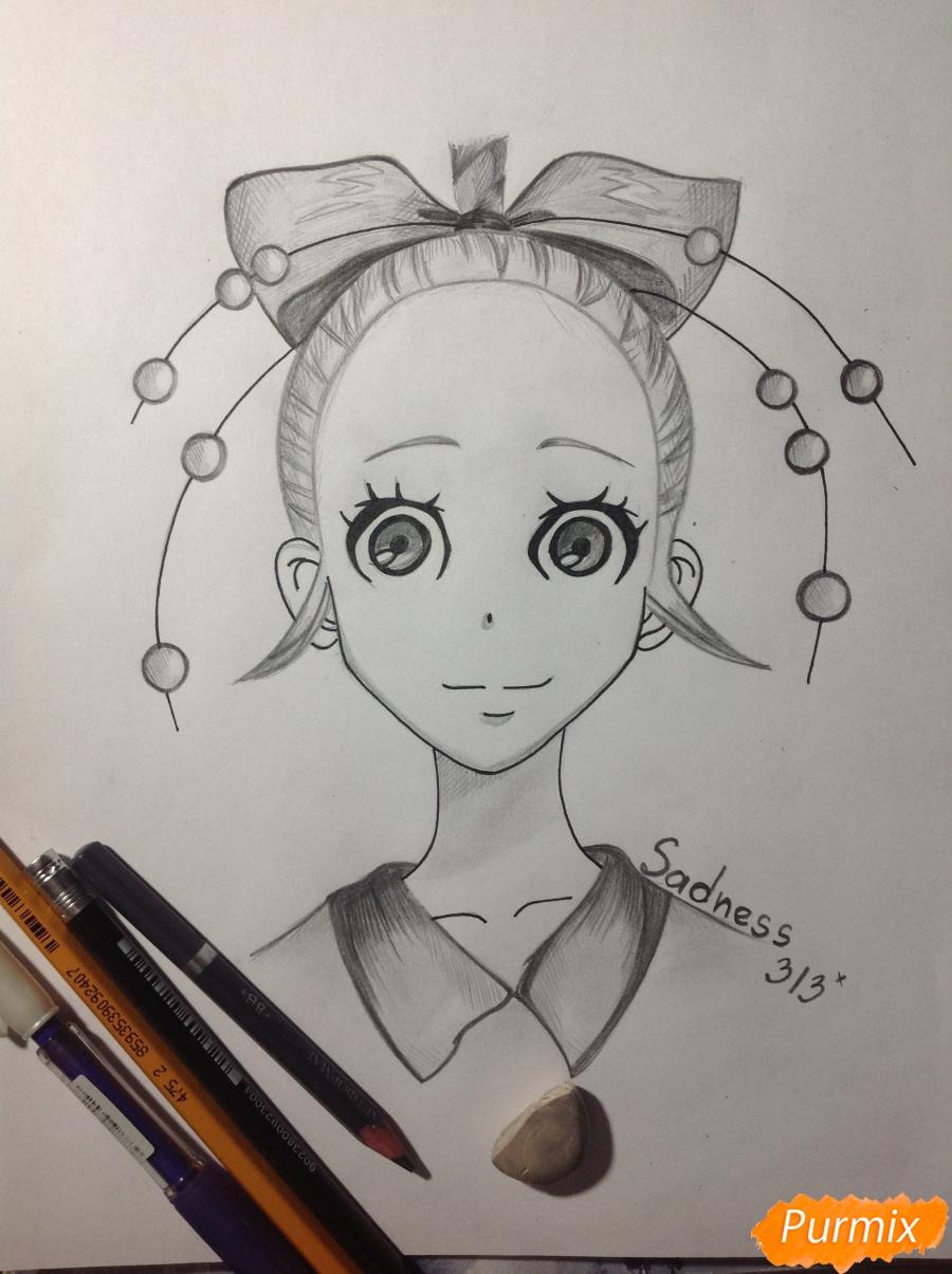 Как нарисовать Дайду Хибану из аниме Deadman Wonderland карандашом поэтапно