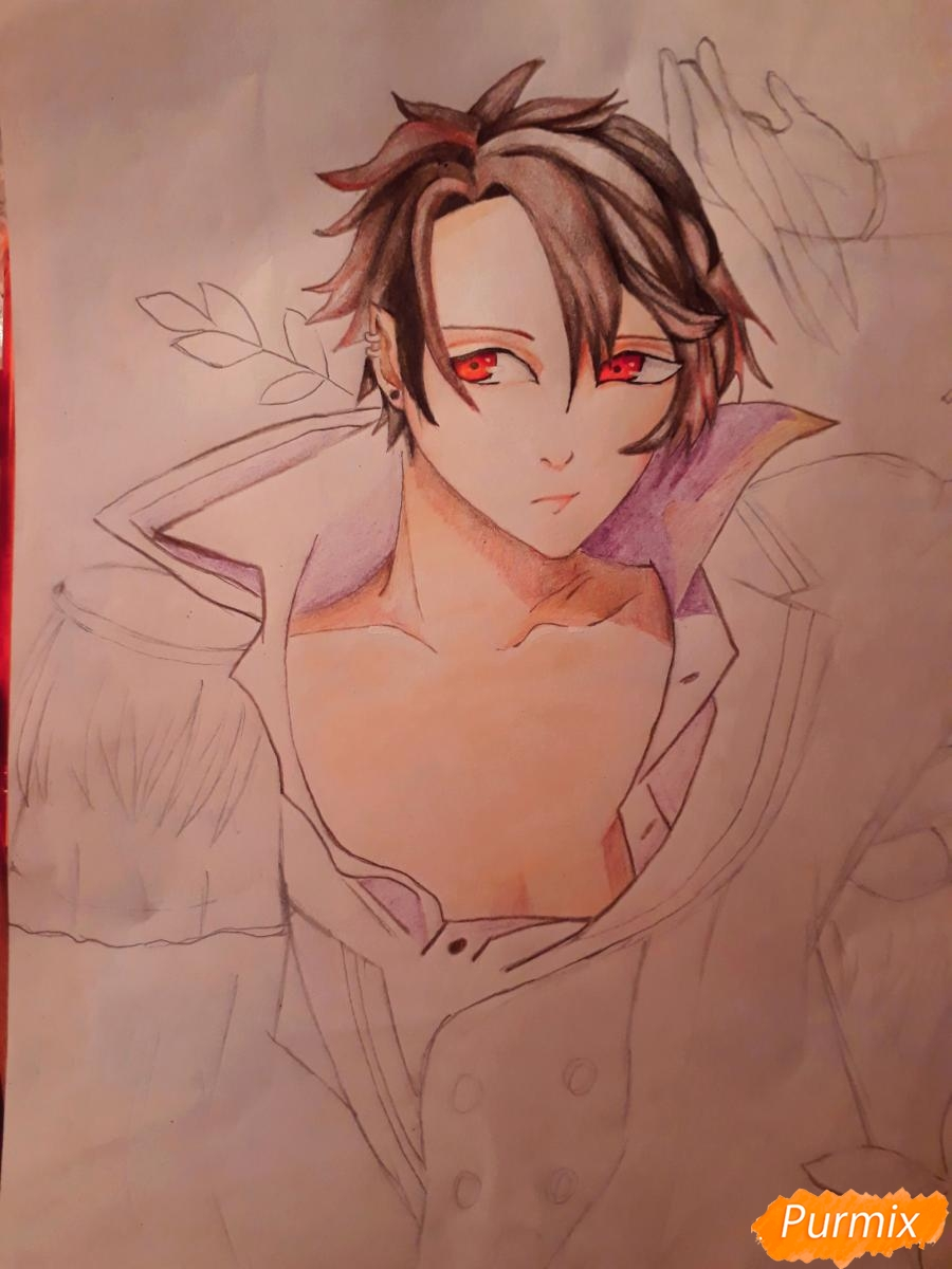 Рисуем демона Данталиона из аниме Принц преисподней демоны и реалист - шаг 13