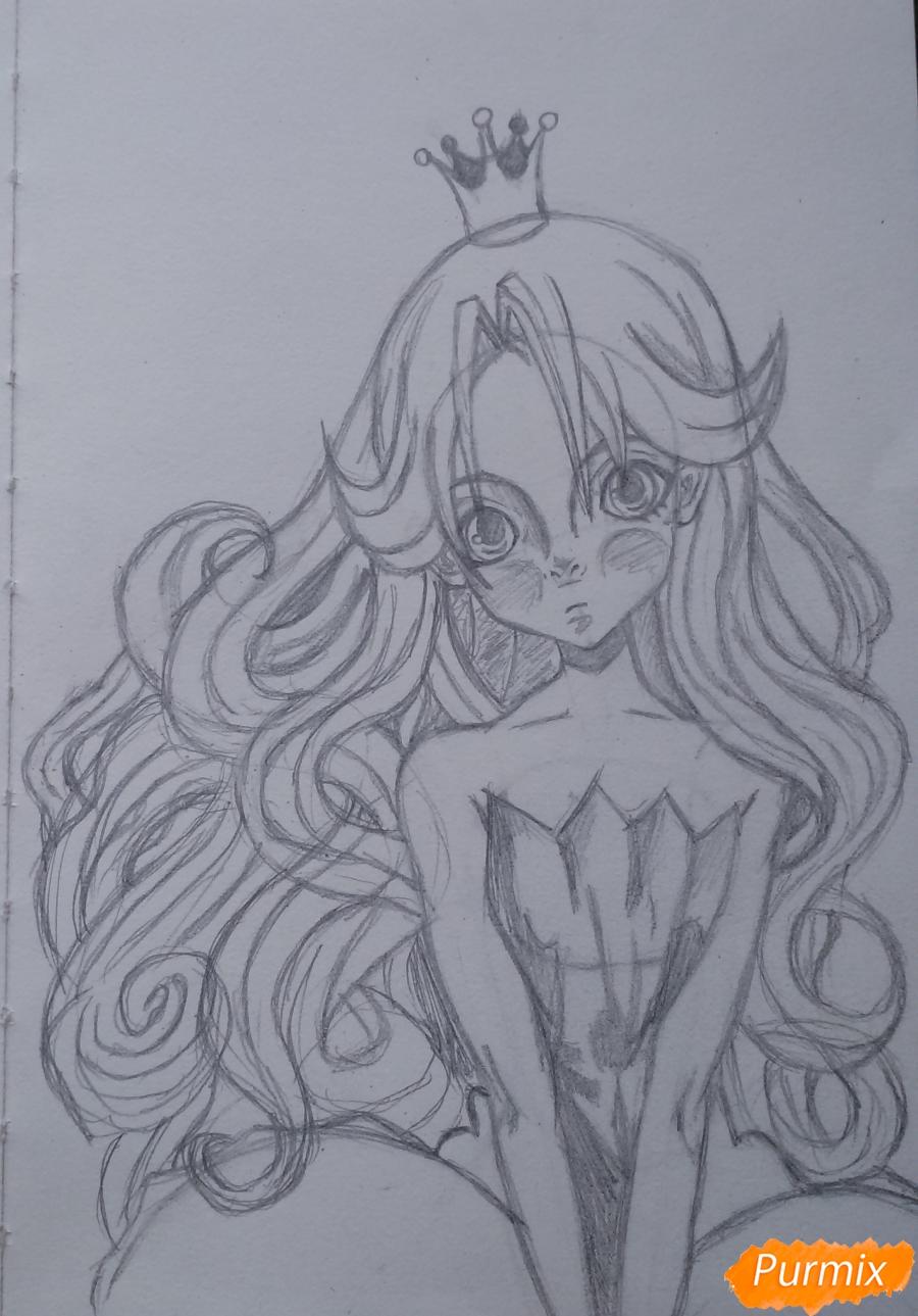 Рисуем девушку с короной в стиле аниме - шаг 10