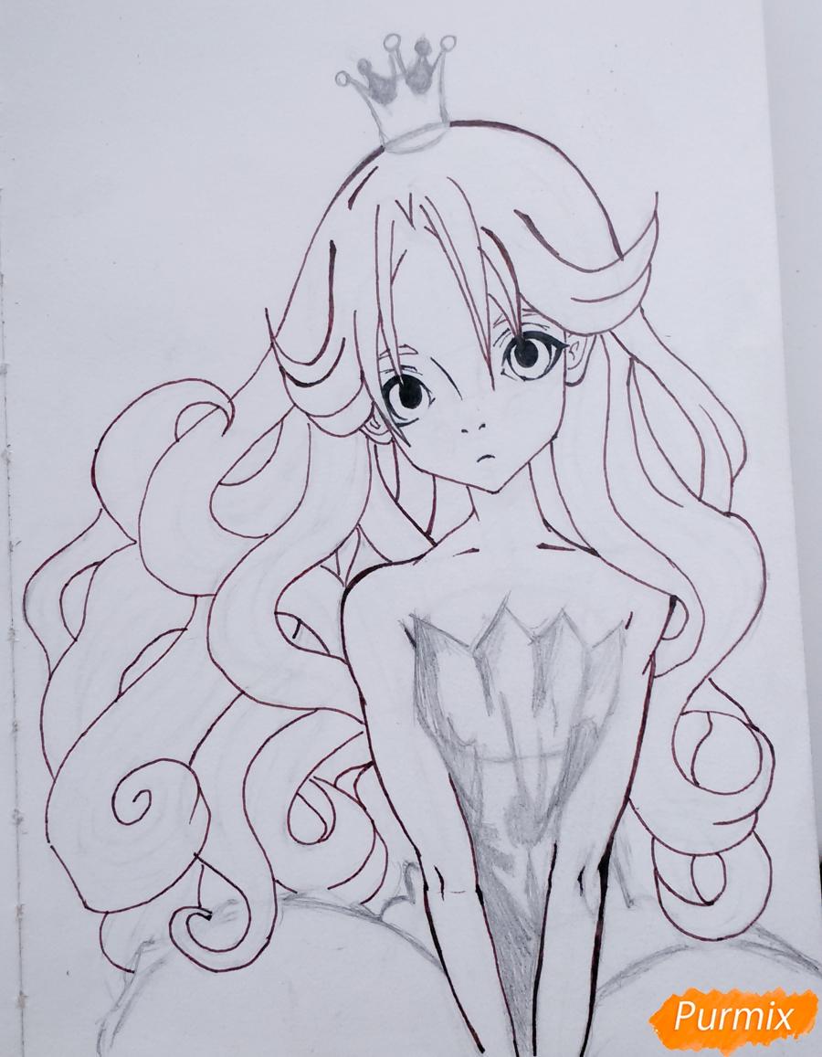 Рисуем девушку с короной в стиле аниме - шаг 11