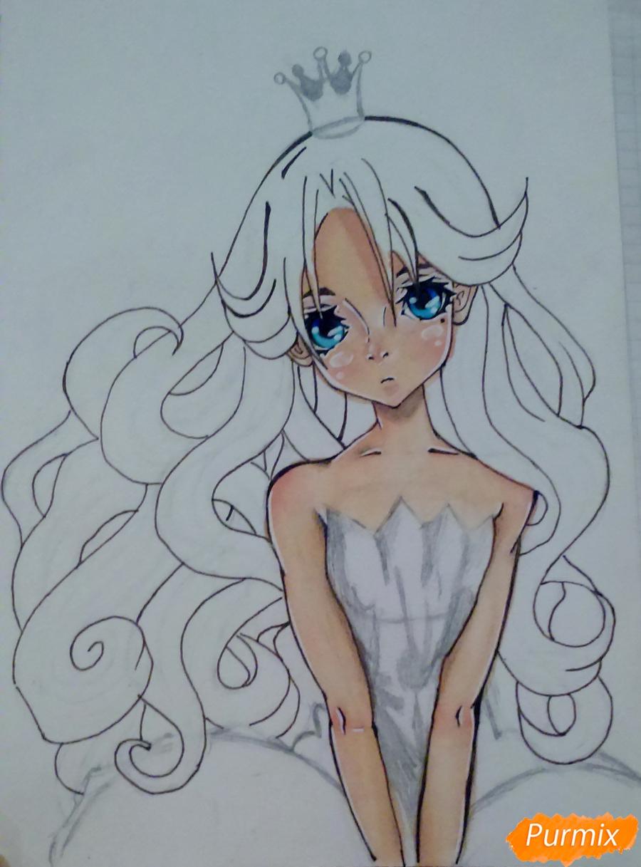 Рисуем девушку с короной в стиле аниме - фото 12