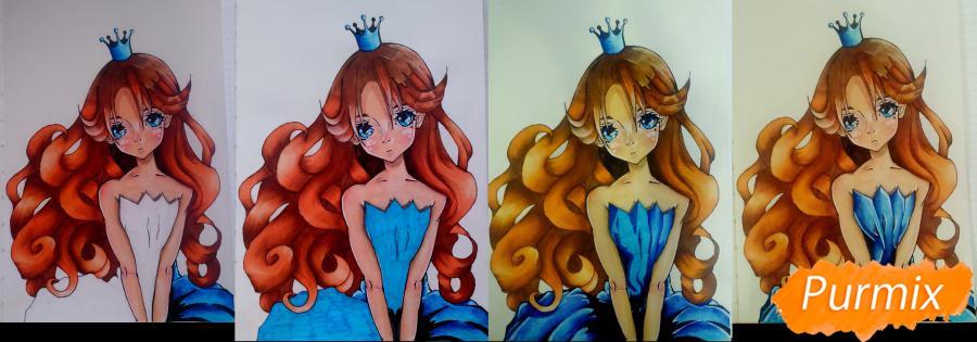 Рисуем девушку с короной в стиле аниме - фото 13