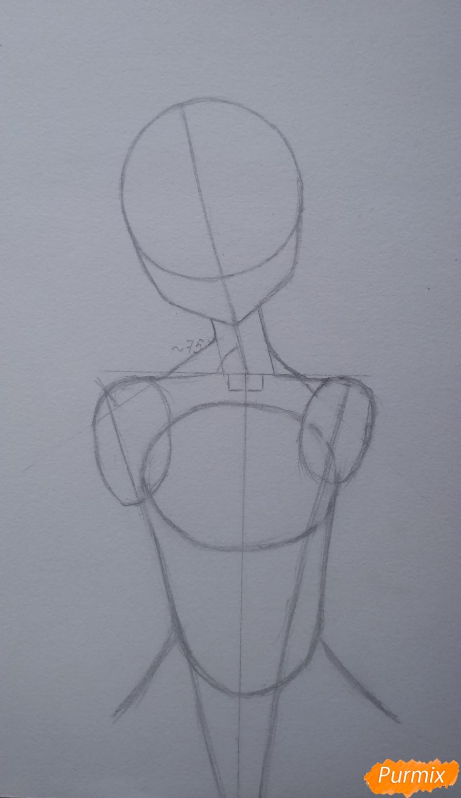 Рисуем девушку с короной в стиле аниме - шаг 3