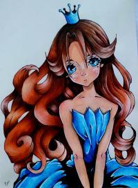 Рисунок девушку с короной в стиле аниме