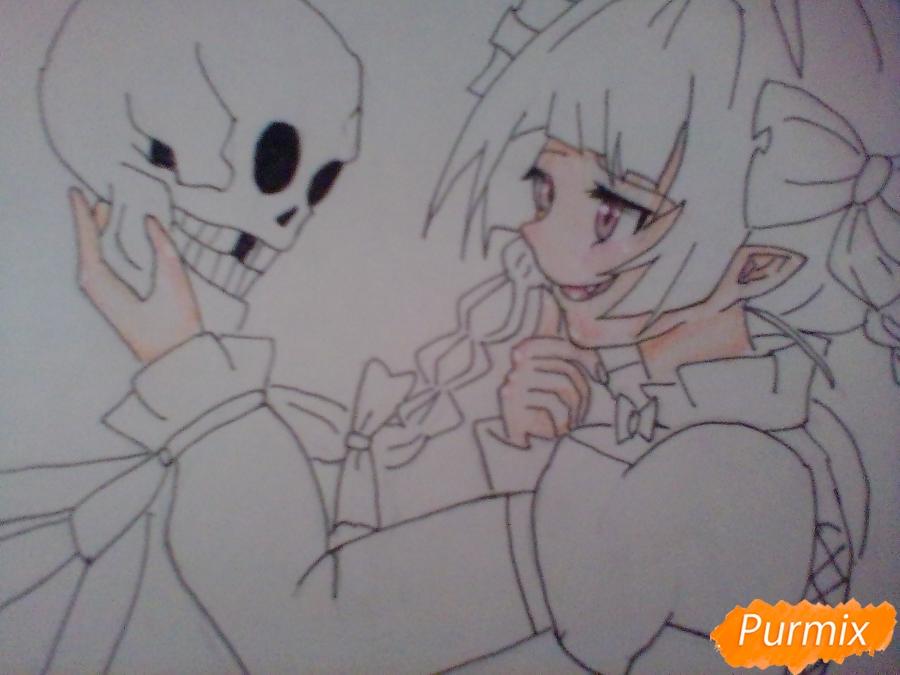 Рисуем девушку вампира с черепом в аниме стиле - фото 7
