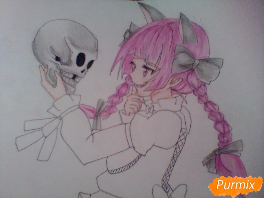 Рисуем девушку вампира с черепом в аниме стиле - фото 8