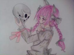 Рисунок девушку вампира с черепом в аниме стиле