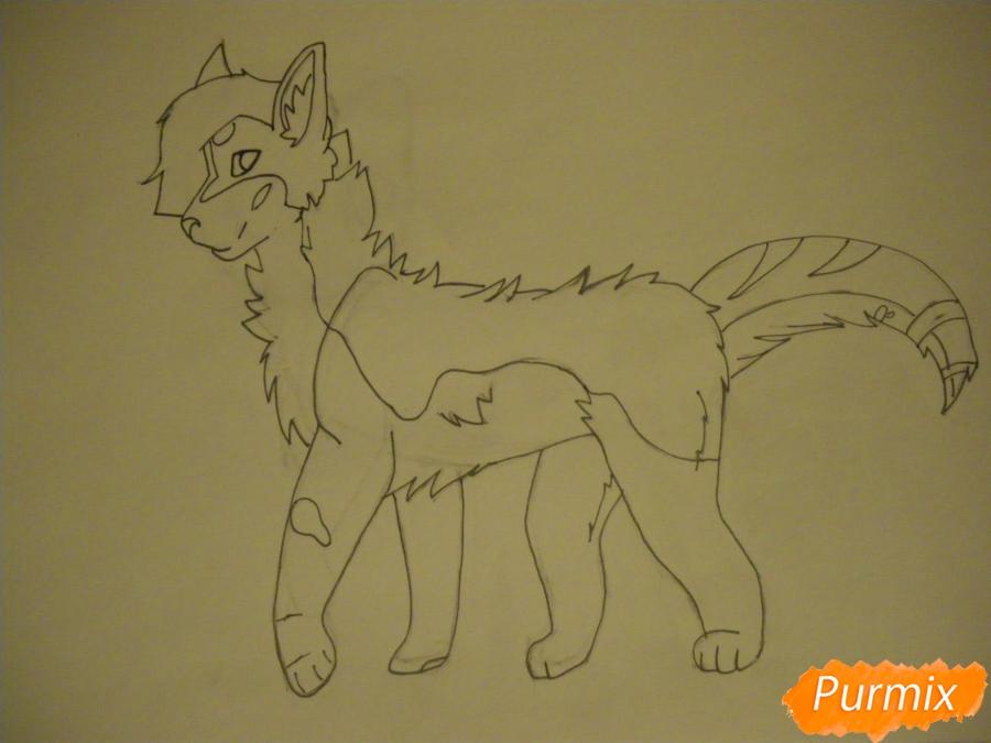 Рисуем дикого кота с коричневым окрасом - шаг 7