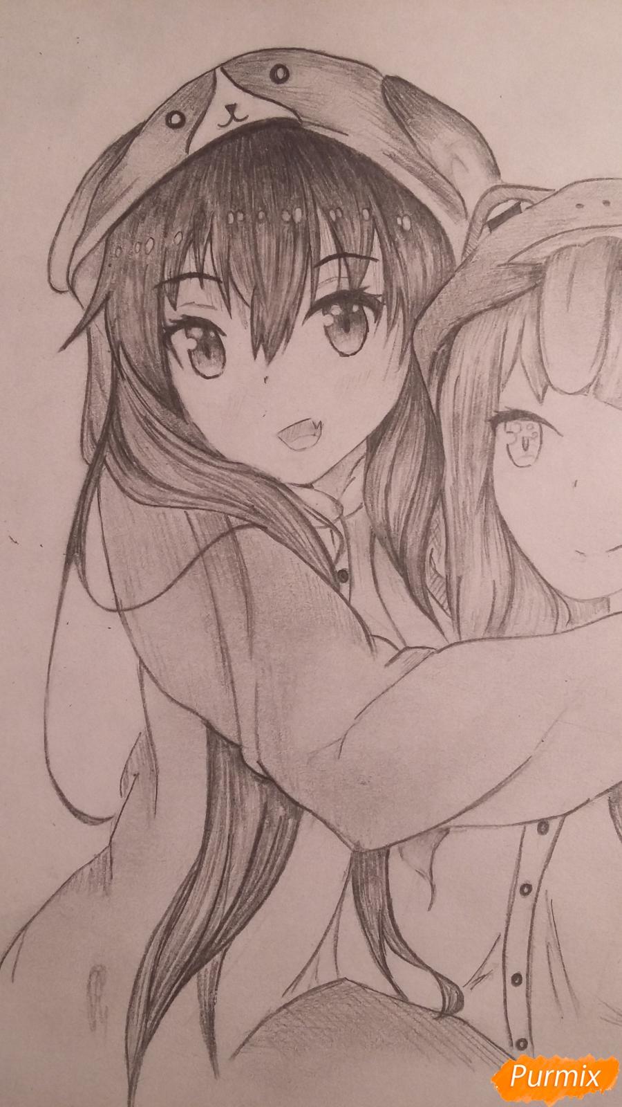 Рисуем двух девушек в аниме стиле - фото 11