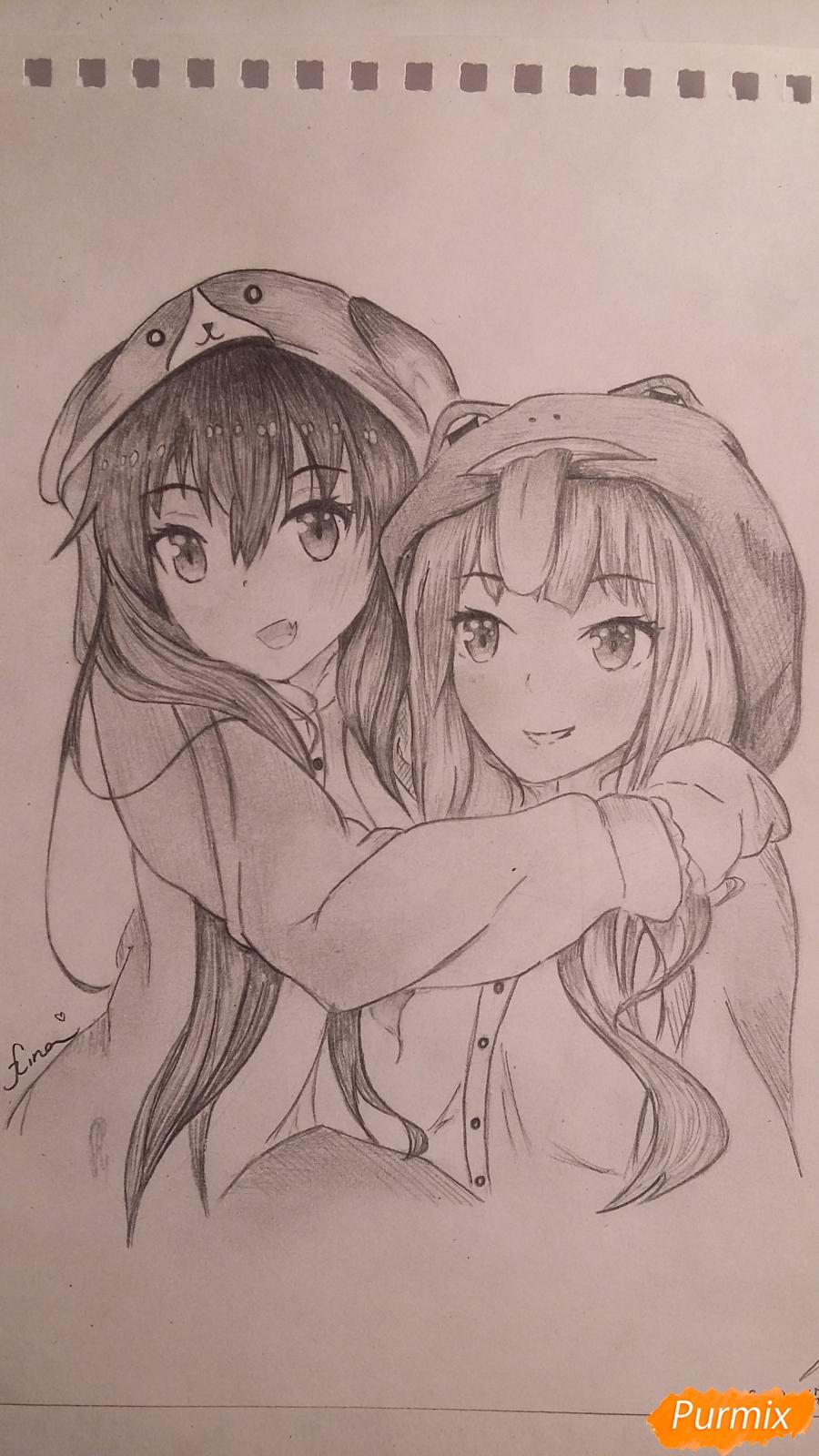 Как нарисовать двух девушек в аниме стиле карандашом поэтапно