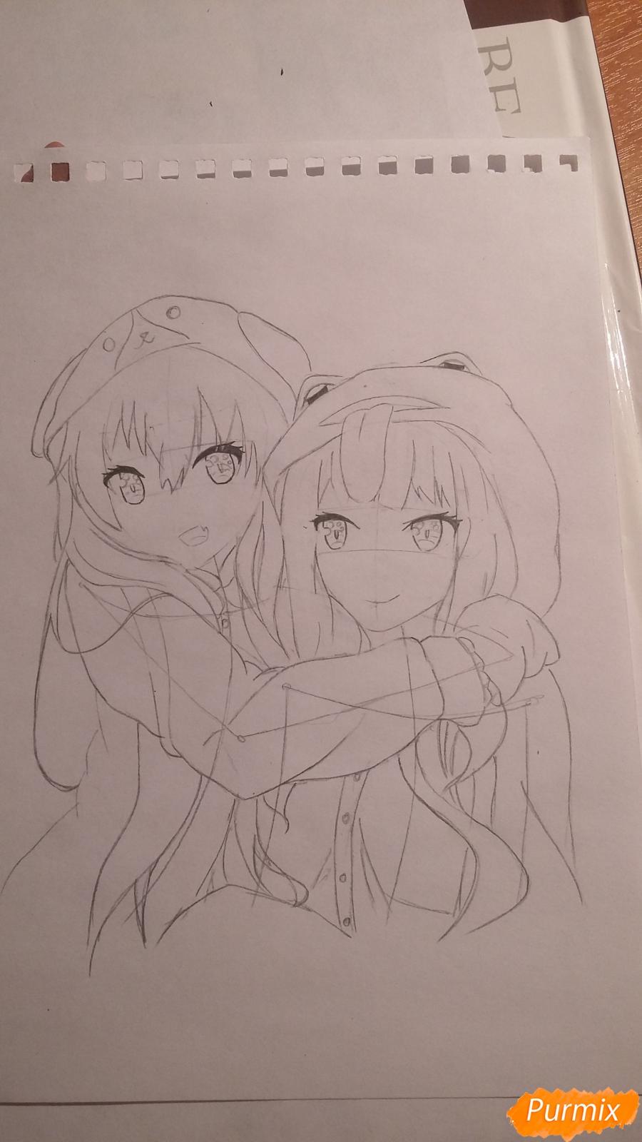 Рисуем двух девушек в аниме стиле - шаг 4