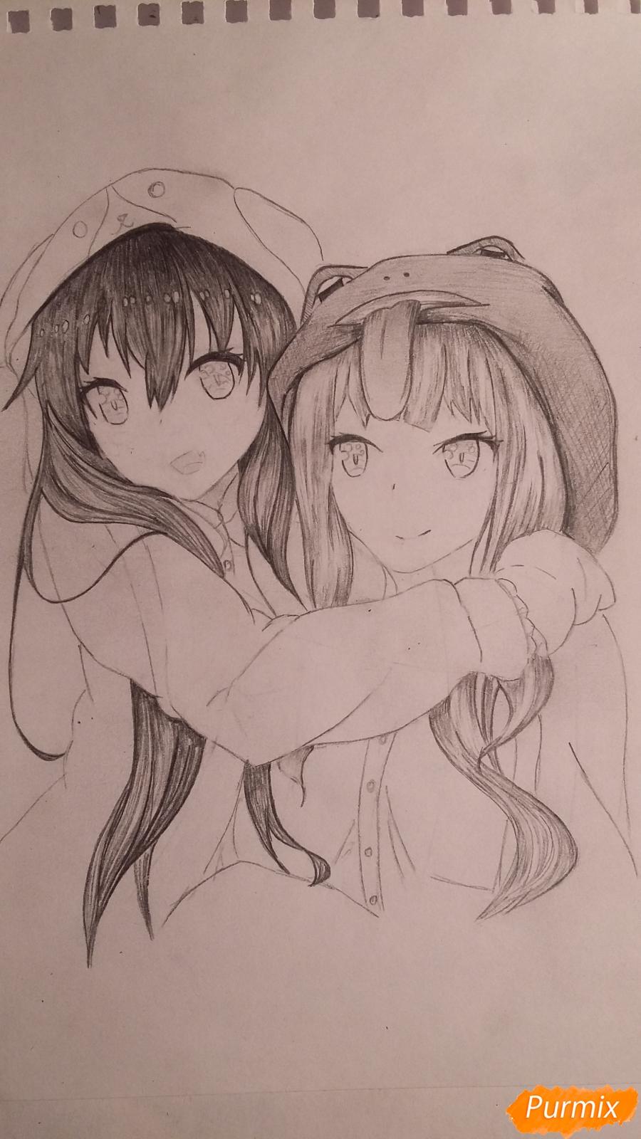 Рисуем двух девушек в аниме стиле - шаг 7