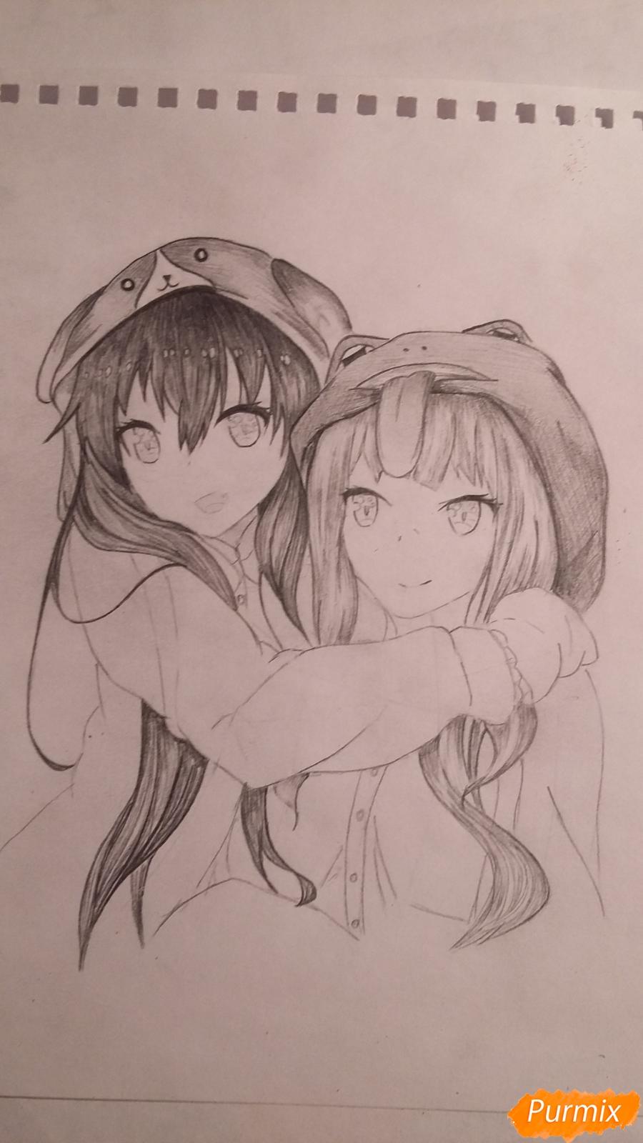 Рисуем двух девушек в аниме стиле - фото 8
