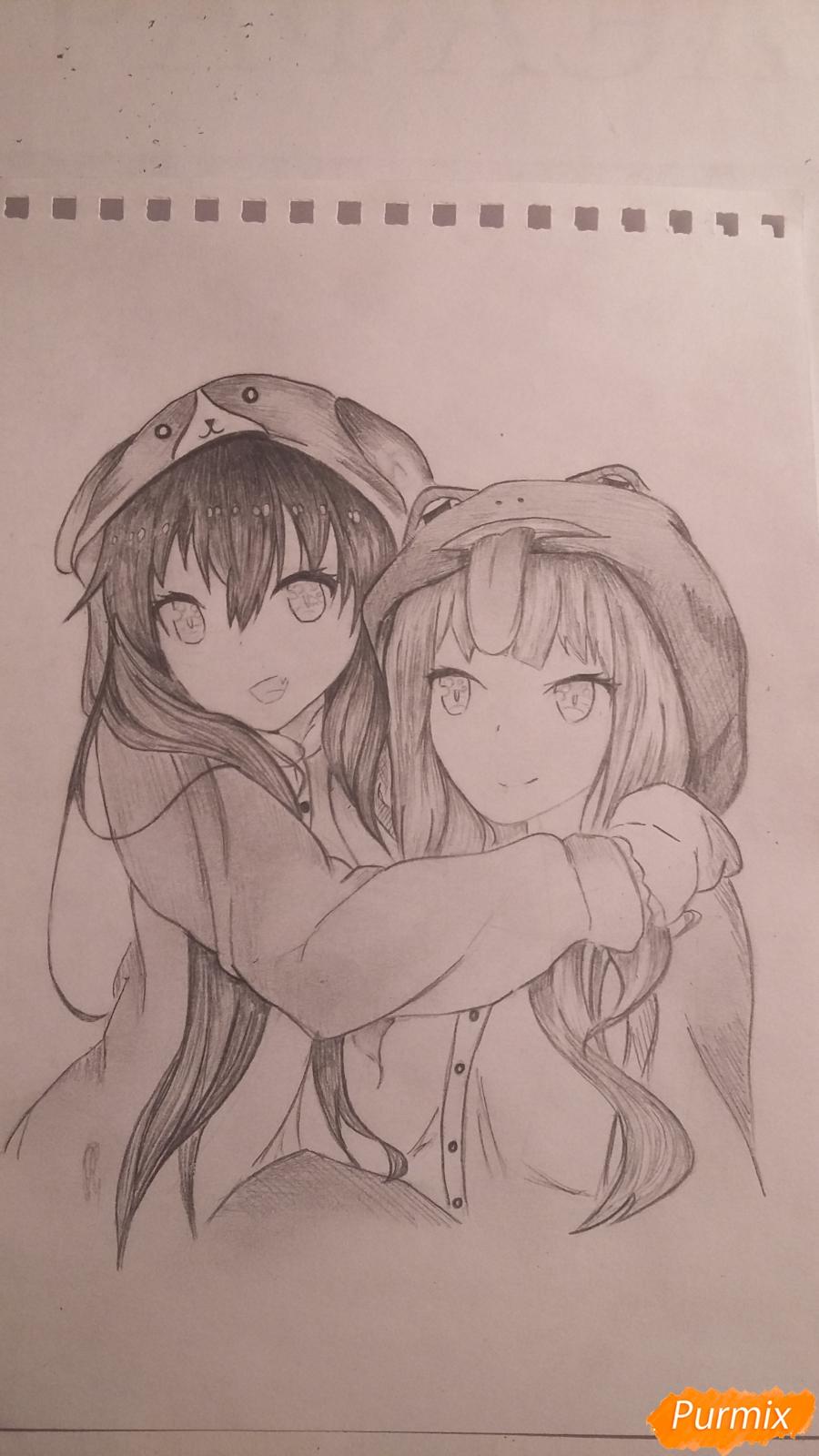 Рисуем двух девушек в аниме стиле - фото 9
