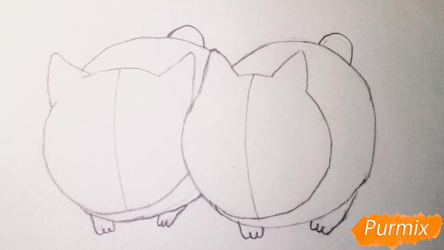 Рисуем двух маленьких аниме котят - шаг 4