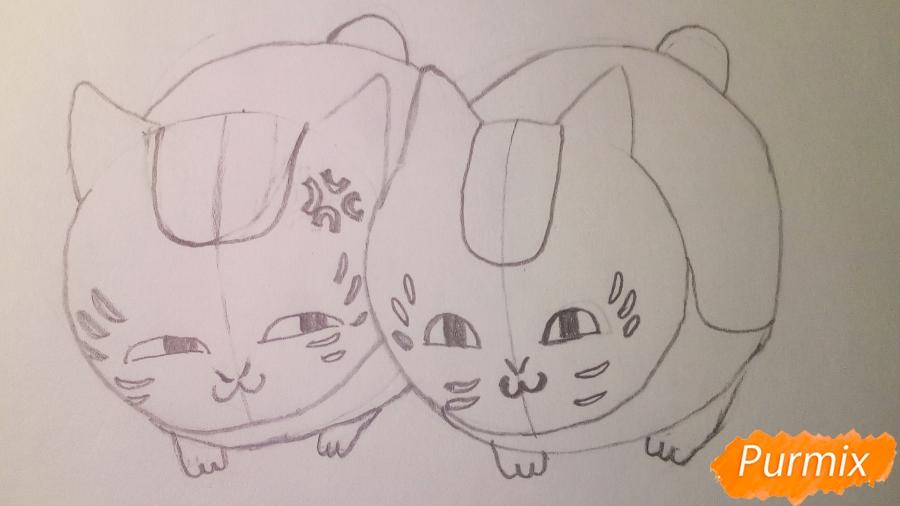 Рисуем двух маленьких аниме котят - шаг 5