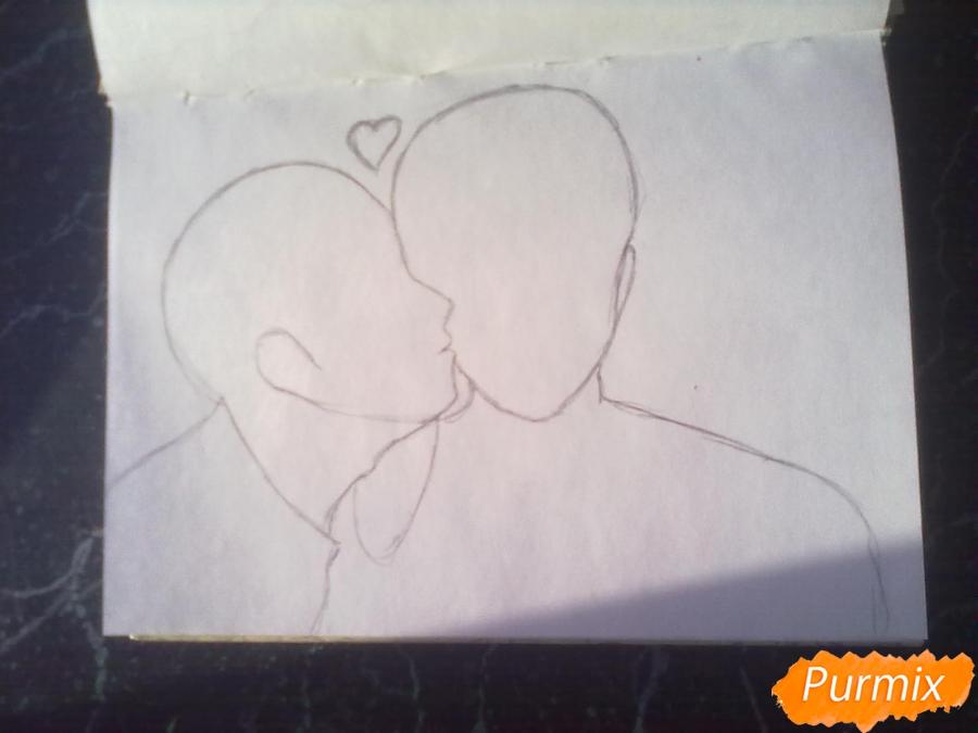 Рисуем двух милых парней в стиле аниме карандашами - шаг 1