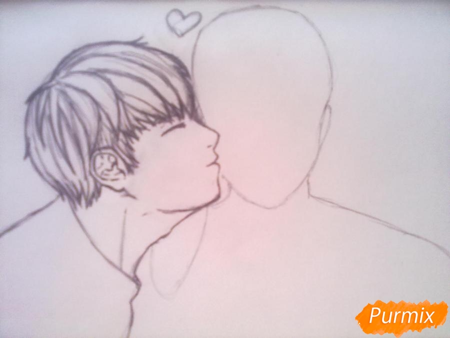 Рисуем двух милых парней в стиле аниме карандашами - шаг 2