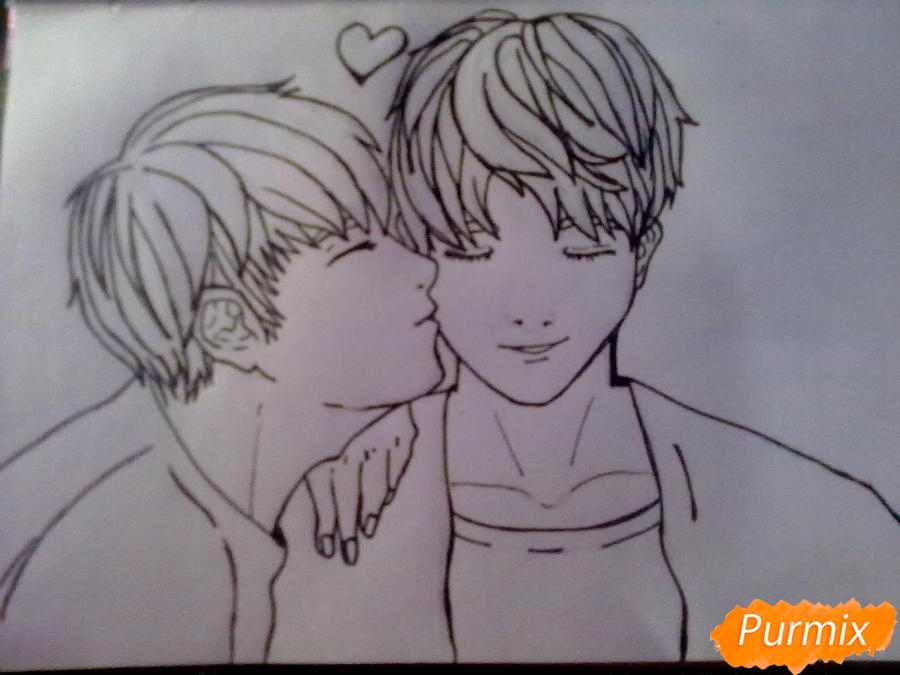 Рисуем двух милых парней в стиле аниме карандашами - шаг 4