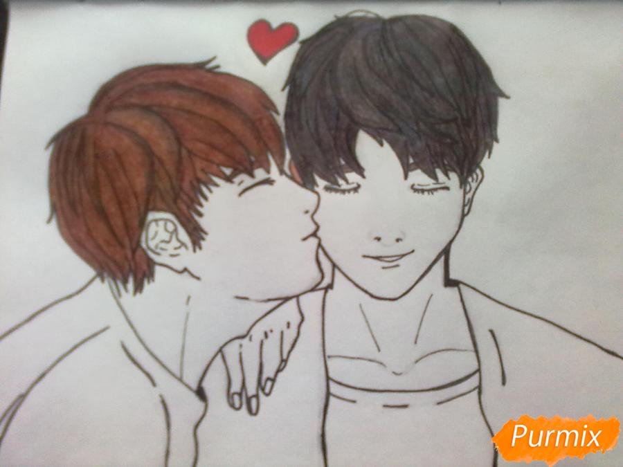 Рисуем двух милых парней в стиле аниме карандашами - шаг 6