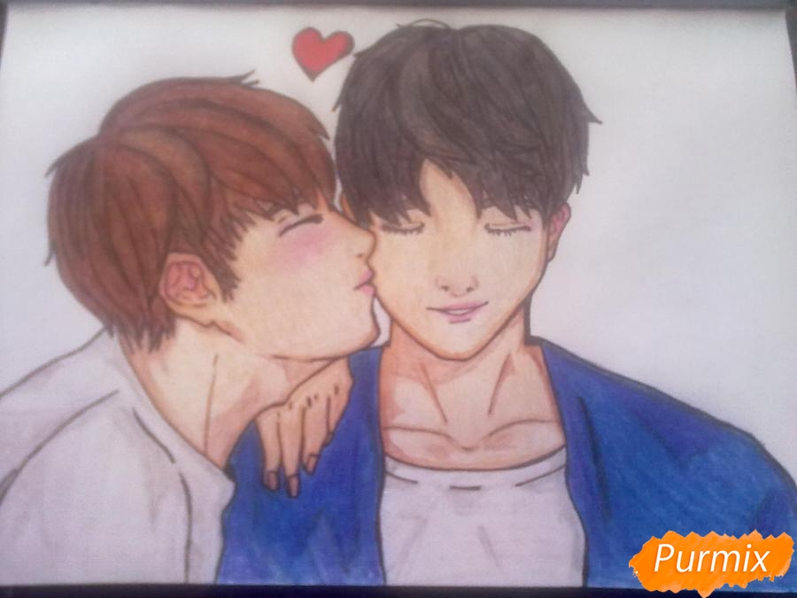 Рисуем двух милых парней в стиле аниме карандашами - шаг 8