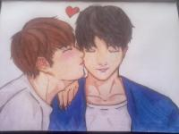 двух милых парней в стиле аниме карандашами