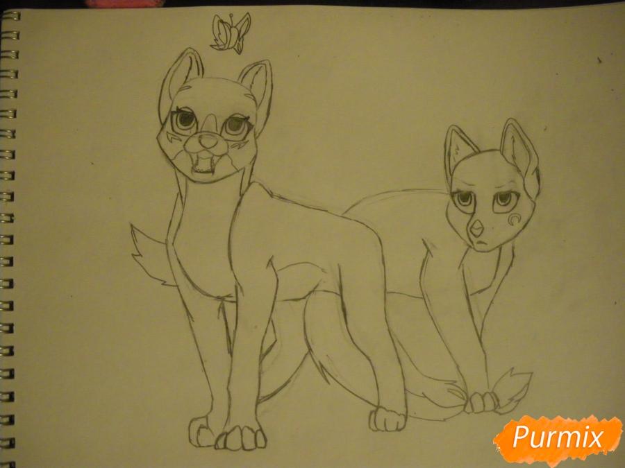 Рисуем двух серых кошечек в стиле аниме - шаг 9