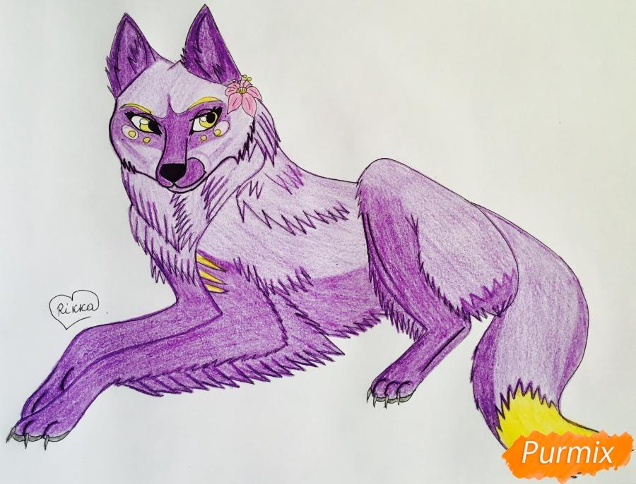 Рисуем фиолетовую лежачую аниме волчицу с розовым цветочком - шаг 10