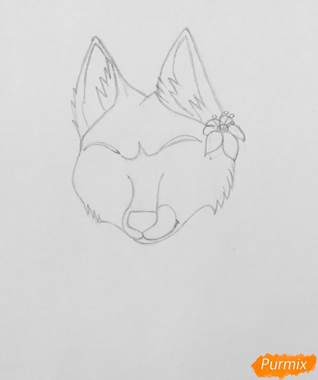 Рисуем фиолетовую лежачую аниме волчицу с розовым цветочком - шаг 2