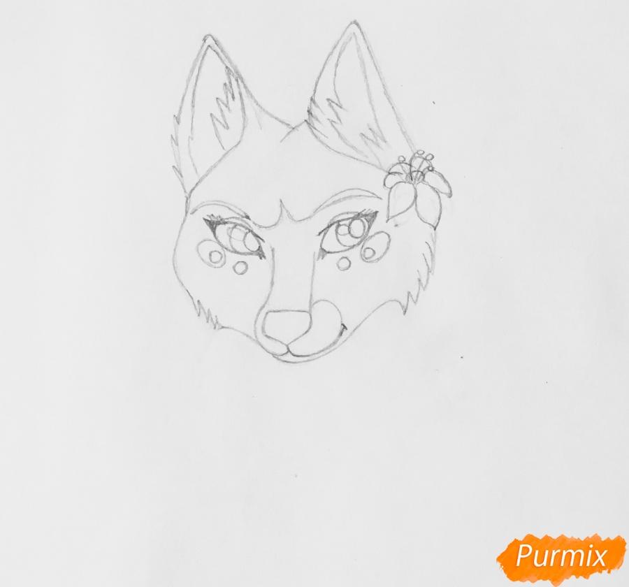 Рисуем фиолетовую лежачую аниме волчицу с розовым цветочком - шаг 3