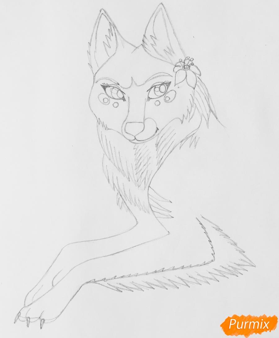 Рисуем фиолетовую лежачую аниме волчицу с розовым цветочком - шаг 4