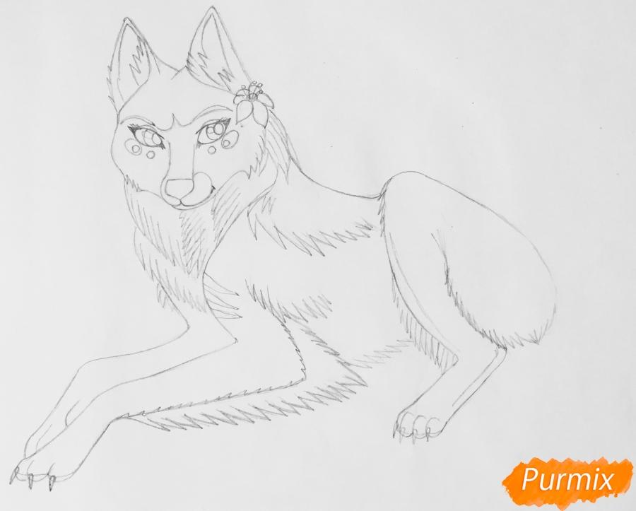 Рисуем фиолетовую лежачую аниме волчицу с розовым цветочком - шаг 5