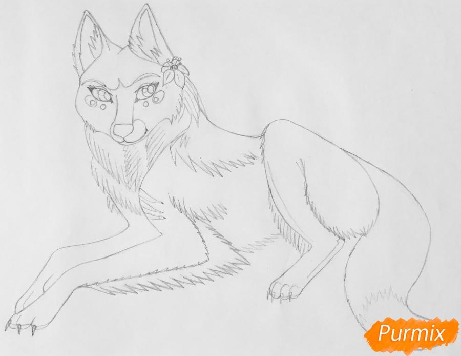 Рисуем фиолетовую лежачую аниме волчицу с розовым цветочком - шаг 6
