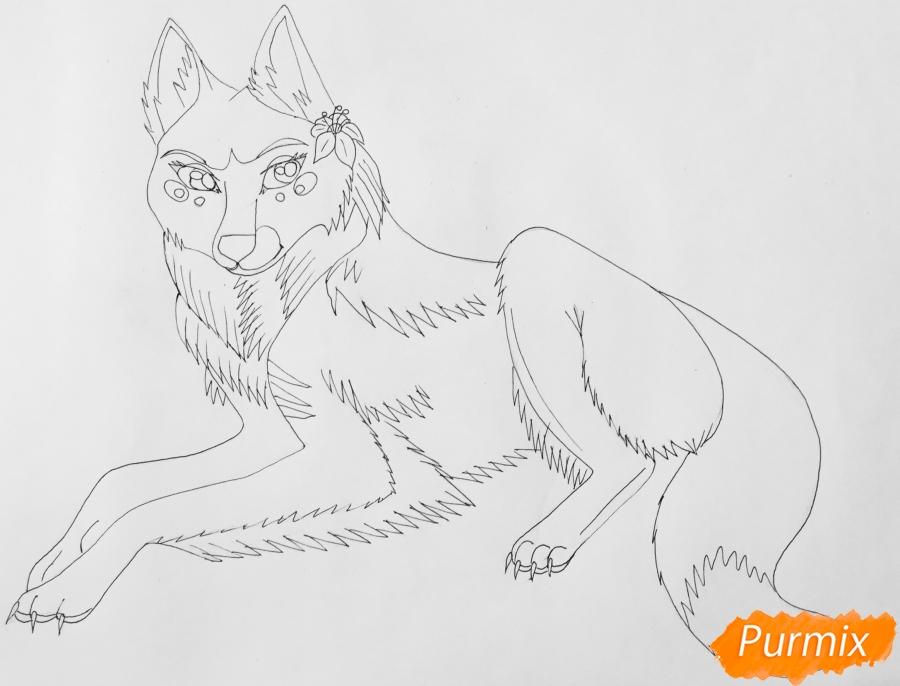 Рисуем фиолетовую лежачую аниме волчицу с розовым цветочком - шаг 7