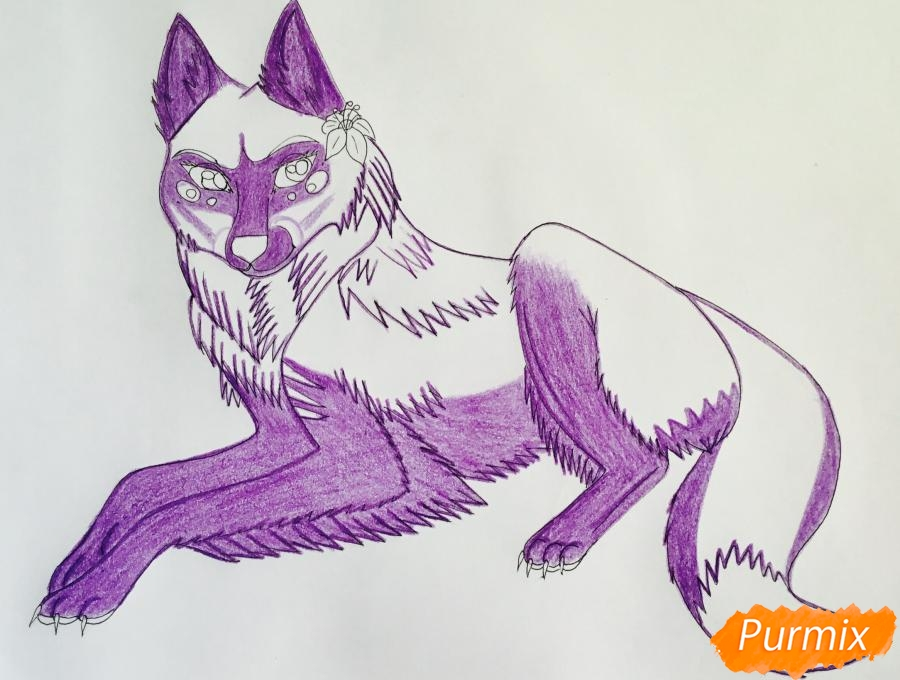 Рисуем фиолетовую лежачую аниме волчицу с розовым цветочком - шаг 8