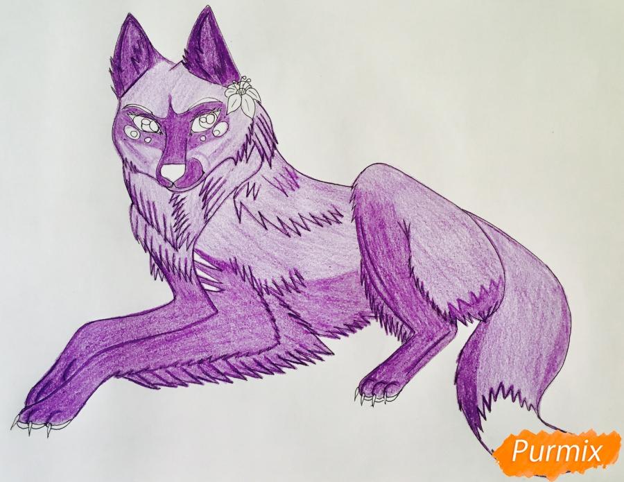 Рисуем фиолетовую лежачую аниме волчицу с розовым цветочком - шаг 9