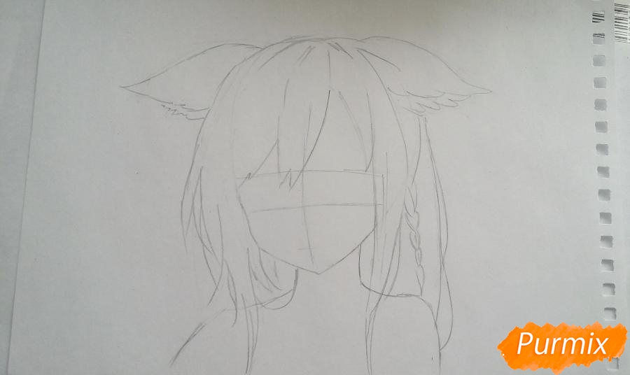 Рисуем грустную аниме девушку с ушками - шаг 2