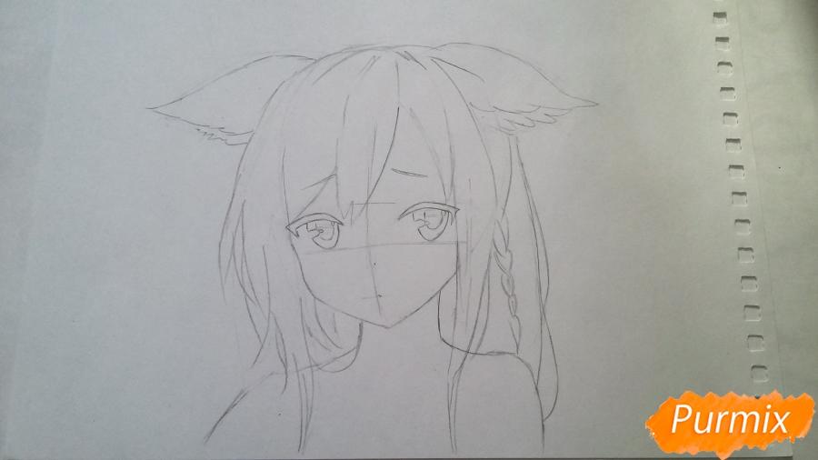 Рисуем грустную аниме девушку с ушками - шаг 3