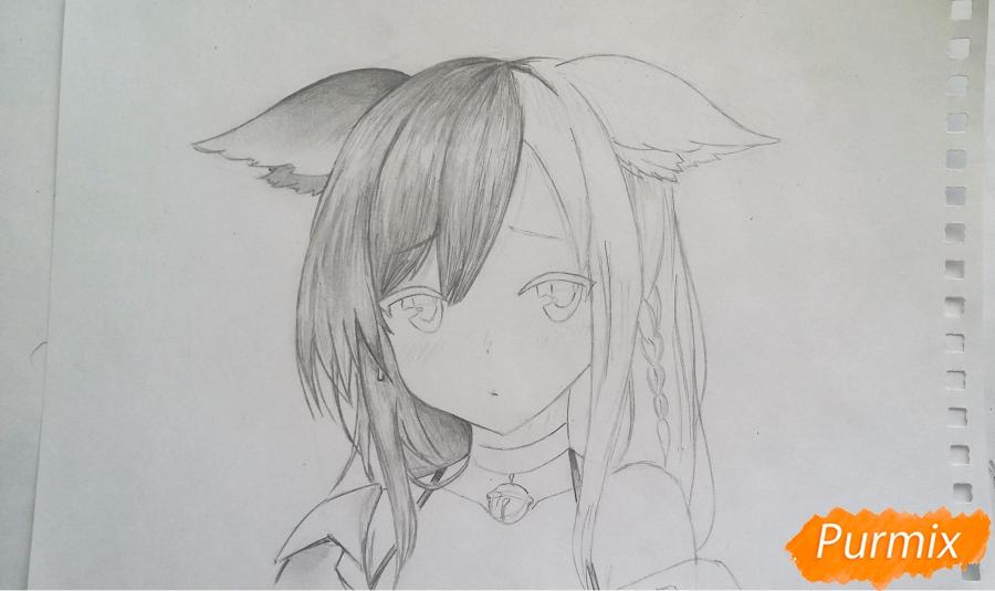 Рисуем грустную аниме девушку с ушками - шаг 5