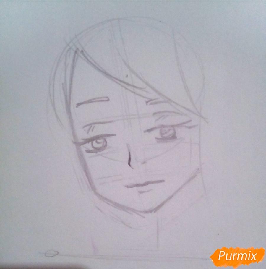 Рисуем гуля Ризе Камиширо из аниме Токийский Гуль - шаг 3
