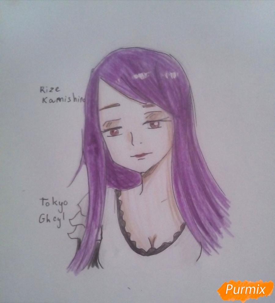 Как нарисовать гуля Ризе Камиширо из аниме Токийский Гуль