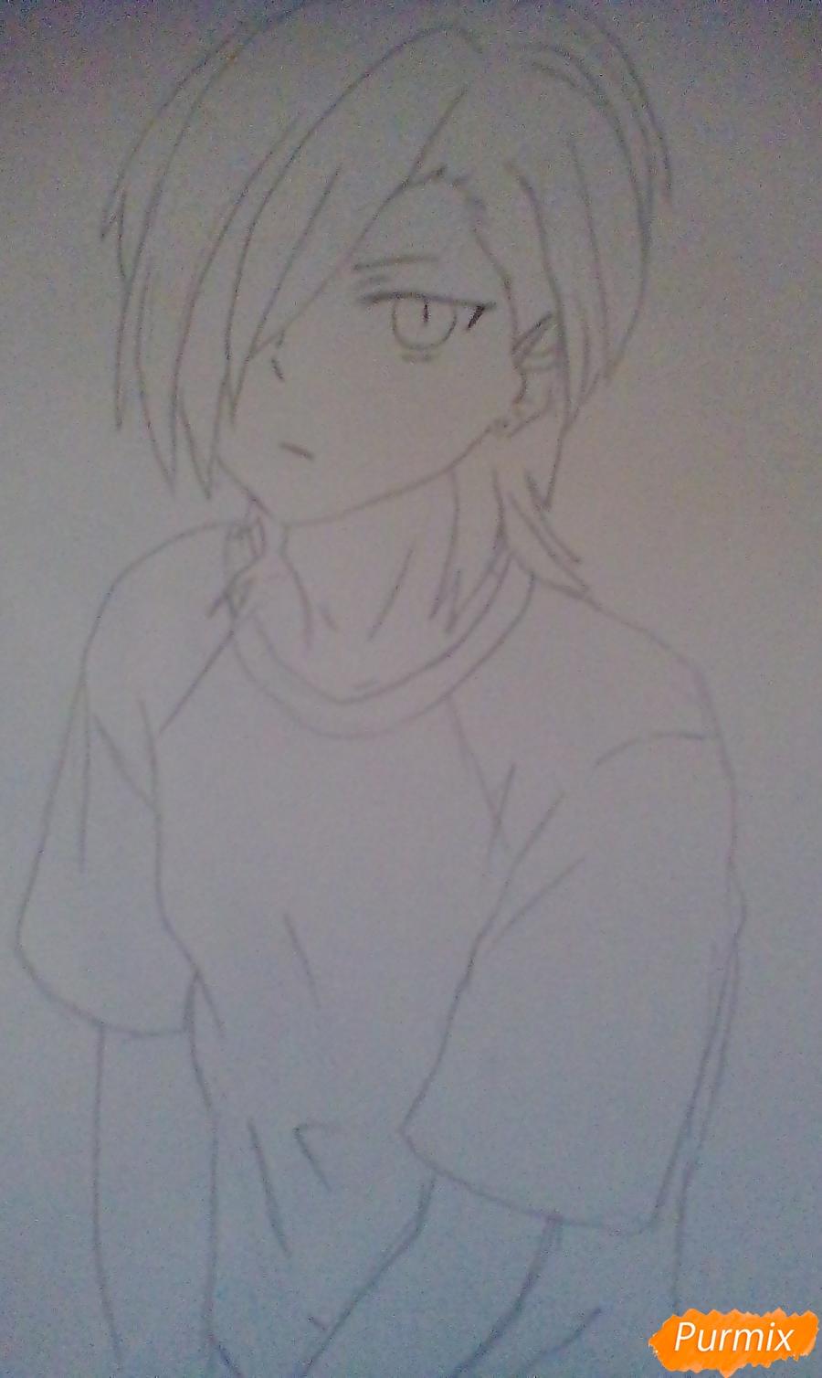 Рисуем Хандзо Урусихару из аниме Сатана на подработке - шаг 5