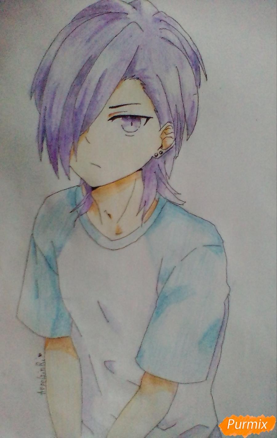 Как нарисовать Хандзо Урусихару из аниме Сатана на подработке карандашом поэтапно