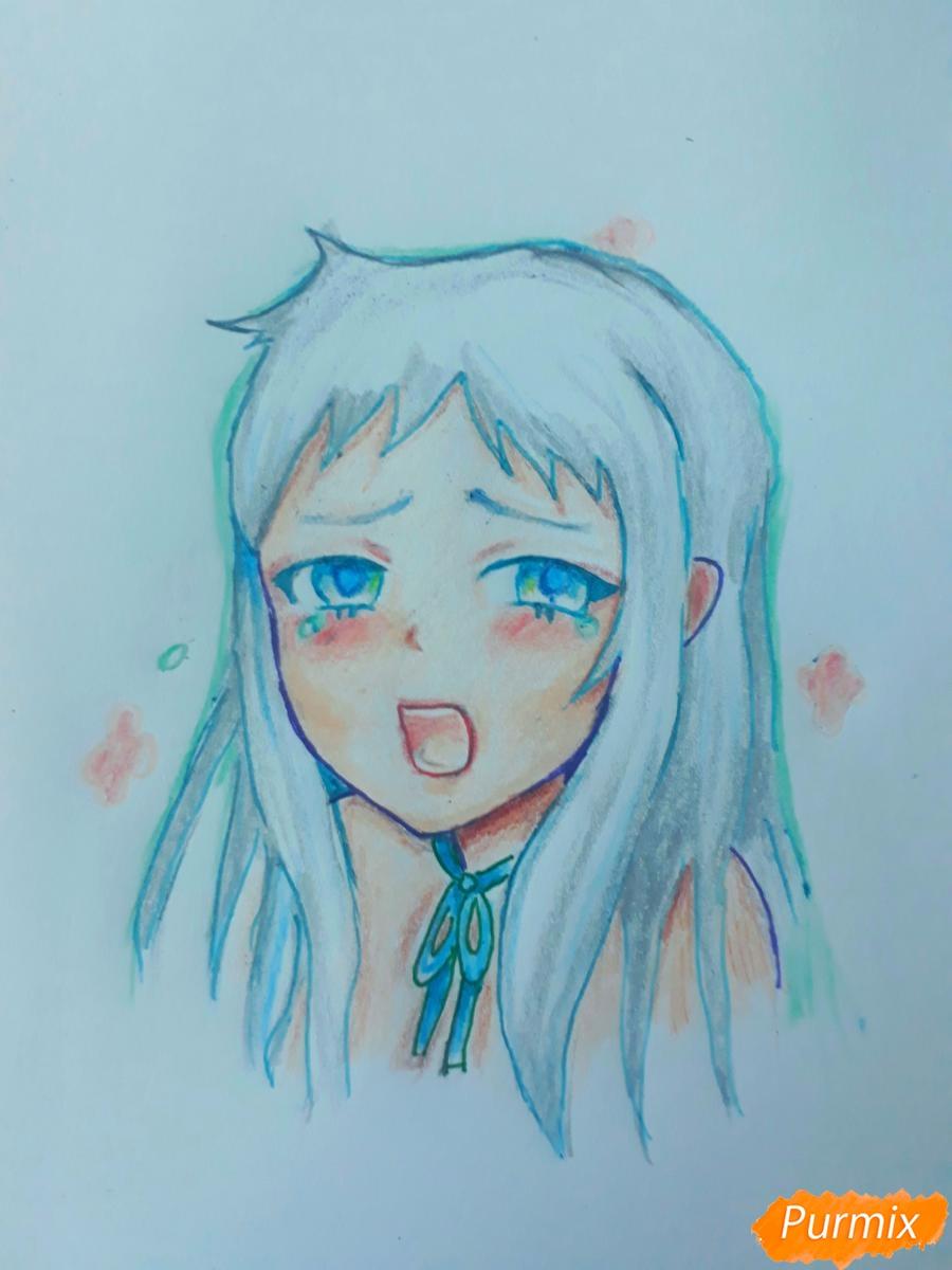 Как нарисовать Ханну со слезами из аниме Невиданный цветок поэтапно