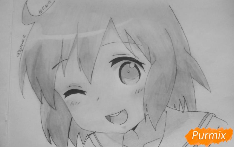 Как нарисовать Харуку Котоуру из аниме Котоура-сан карандашом поэтапно