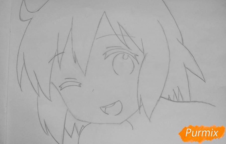 Рисуем Харуку Котоуру из аниме Котоура-сан - шаг 3