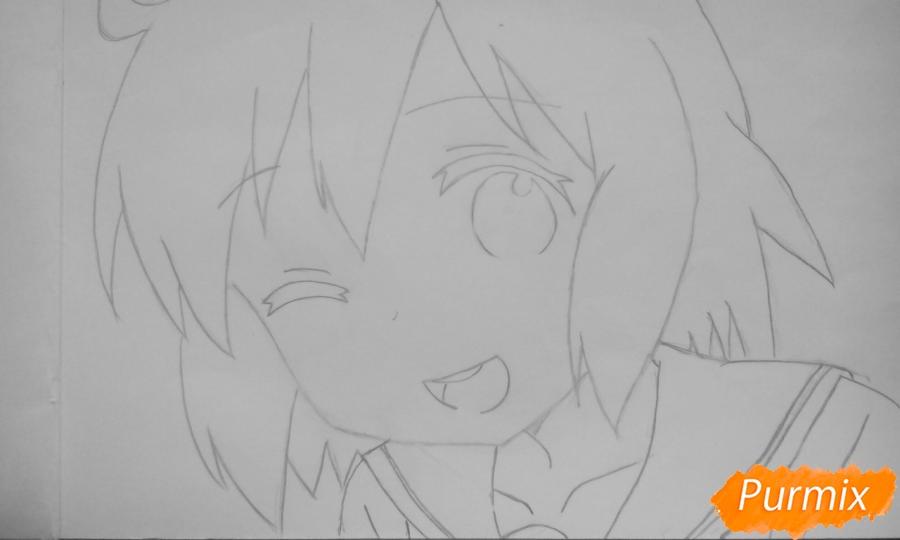 Рисуем Харуку Котоуру из аниме Котоура-сан - шаг 4