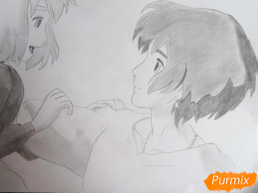 Рисуем Хаула и Софи из аниме Ходячий замок Хаула - фото 11