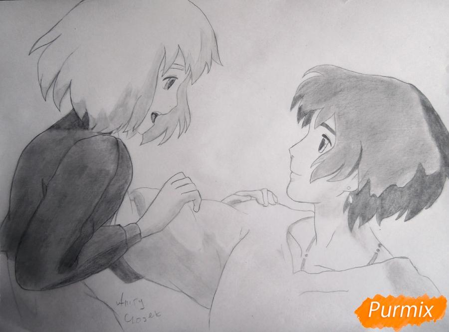 Как нарисовать Хаула и Софи из аниме Ходячий замок Хаула